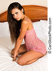 Romanian - Pretty young Romanian woman in pink lingerie
