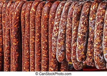 Romanian sausages (carnati), smoked and dried-1