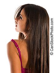 Romanian - Beautiful slender Romanian brunette in rose...