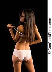 Romanian - Beautiful slender Romanian brunette in cream...