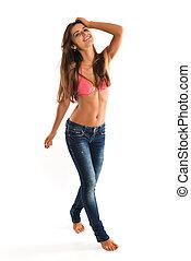 Romanian - Beautiful slender Romanian brunette in a bikini...