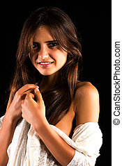 Romanian - Beautiful slender Romanian brunette with a white...