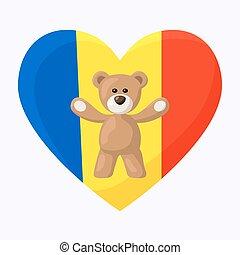 Romanian Teddy Bears - Teddy Bears with heart with flag of ...