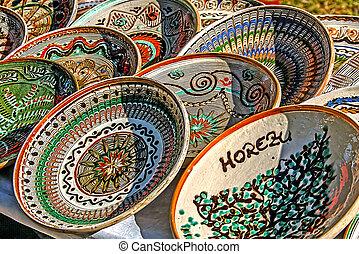 Romanian traditional ceramic plates