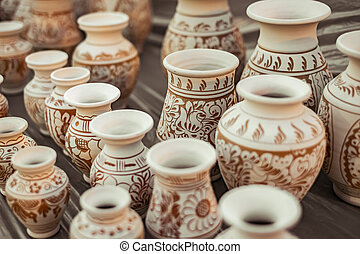 Romanian traditional ceramic vases on the pavement