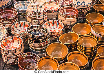 Romanian traditional empty plates at the market