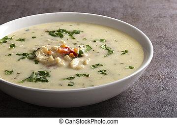 Romanian traditional soup - Ciorba de Burta seasoned with vinegar and horseradish