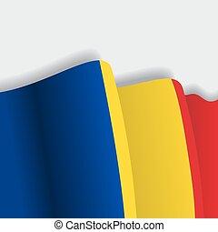 Romanian waving Flag. Vector illustration.