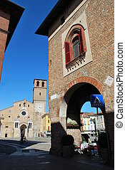 Romanic cathedral, Lodi - Beautiful view of romanic ...