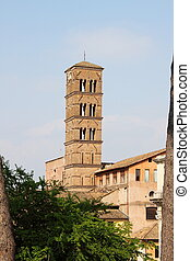Romanic church tower - Tower of a church in romanic style, ...