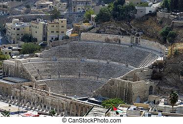 romano, anfiteatro, en, amman, ciudadela, en, nacional, sitio histórico