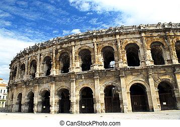 romano, arena, en, nimes, francia