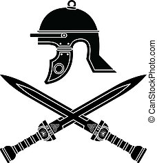 romano, casco, e, swords., quarto, var