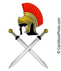 romano, casco, y, espadas