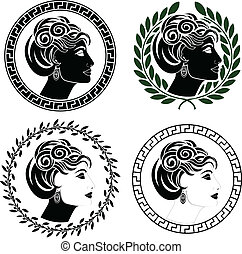 romano, conjunto, perfiles, mujer
