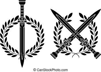 romano, guirnalda, espadas