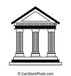 romano, icono, columnas, edificio