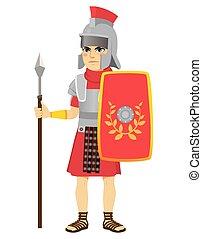 romano, lanza, soldado, legionary