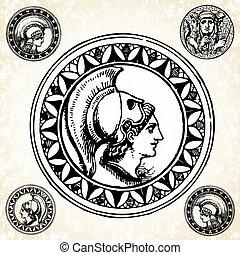 romano, vector, sellos