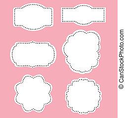 romans, biały, etykiety, na, różowe tło