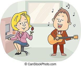 romans, telegram, dziewczyna, śpiew