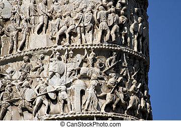 Romans warriors sculpted in Trajan's column in Rome - detail...