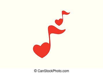 romansowy śpiew, nuta, muzyka, logo, ikona