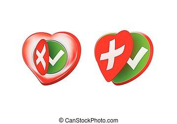 Romantic Approval Rejection Symbols