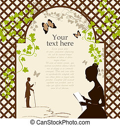 Romantic arbor - Illustration of girl under the romantic...