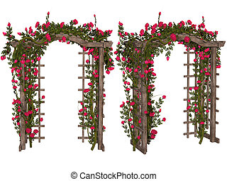 Romantic arbor with pink roses - 3d illustration isolated on...