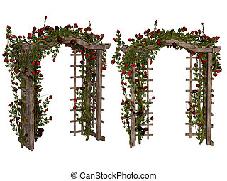 Romantic arbor with red roses - 3d illustration isolated on...