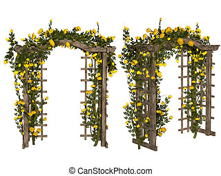 Romantic arbor with yellow roses - 3d illustration isolated...
