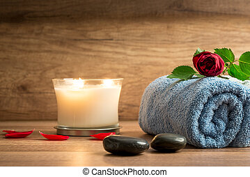 Romantic arrangement with scented candle and rose - Romantic...