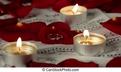 Tea candles burning on sheet music, surrounded by red and scarlet rose petals. Good romantic video for valentines day presentations, video postcards, birthday wishes, music videos, advertisement, tv series or show intro title sequence etc.