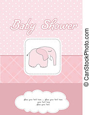 romantic baby girl announcement card