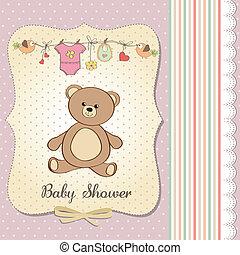 romantic baby girl announcement card with teddy bear