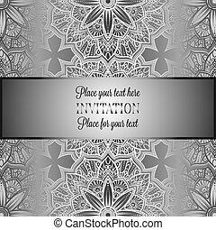 Romantic background with antique, luxury gray and metal silver vintage frame, victorian banner, intricate exquisite rococo wallpaper ornaments, invitation card, baroque style booklet, gothic