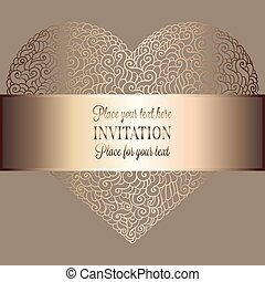 Romantic background with antique, luxury beige and gold vintage frame, victorian banner, heart made of doodle swirls wallpaper ornaments, invitation card, baroque style booklet with text