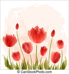 Romantic background with blooming tulips. EPS10