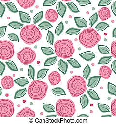 Romantic background with cute roses on white background. Cute vintage floral pattern. Vector illustration with painted flowers. Seamless pattern for textile.