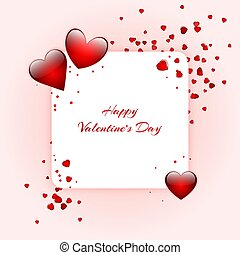 Romantic background with hearts - Bright background with red...