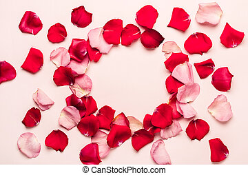 Romantic background with rose petal frame. Valentine's day concept