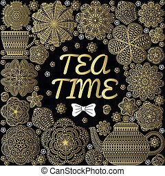 Romantic background with teapot