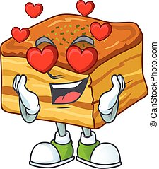 Romantic baklava cartoon character with a falling in love face
