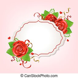 Romantic banner with red roses