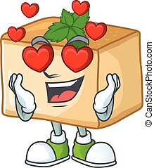 Romantic basbousa cartoon character with a falling in love face