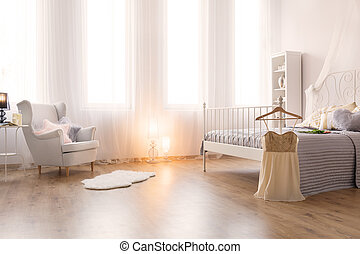 Romantic bedroom with bed