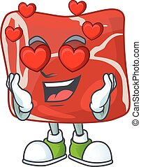 Romantic beef cartoon character with a falling in love face