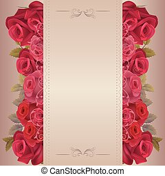 Romantic beige background with red roses