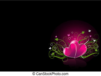 Romantic black Background with hearts